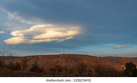 Wind generators on the mountainside
