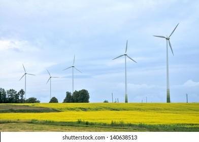 Wind Generators in rapeseed field