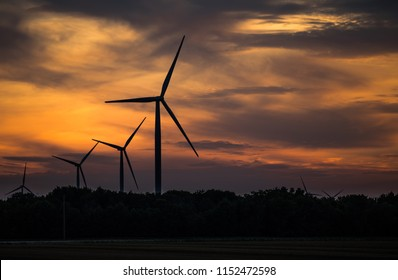 Wind mill during sunset