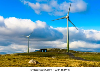Wind mill of Eysturoy, Faroe Islands, autonomous region of the Kingdom of Denmark