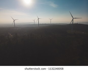 Wind mill farm at the top of the mountains