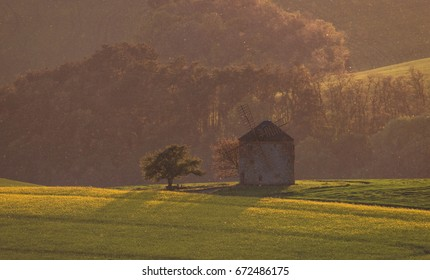 Wind mill in South Moravia landscape