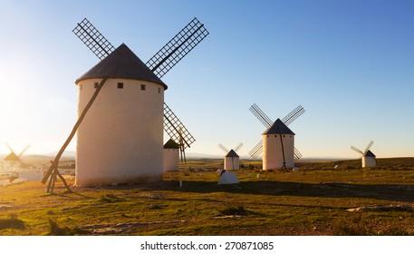 Wind mills at Campo de Criptana in evening sun. La Mancha, Spain