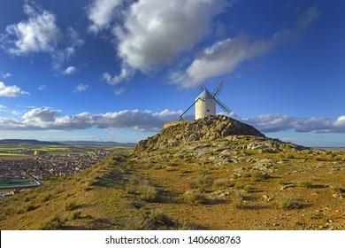Wind mills at Consuegra, Toledo region, Castilla La Mancha, Spain. Route of Don Quixote with windmills.