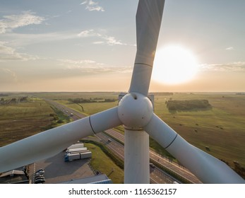 Wind mills during bright summer day alternative energy sources, wind power close up