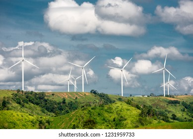 Wind mills farm for green energy power eco energy concept