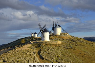 Wind mills at knolls at Consuegra, Toledo region, Castilla La Mancha, Spain. Route of Don Quixote with windmills.