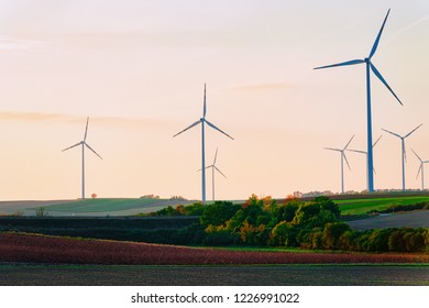 Wind mills at South Moravia, Czech Republic. At sunset
