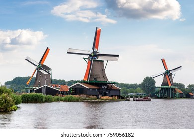 Wind mills in Zaanse Schans, Netherland. Holland in a summer day