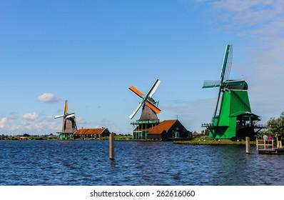 Wind mills of Zaanse Schans, The Netherlands.