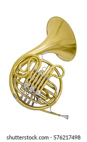 wind musical instrument French Horn isolated on white background