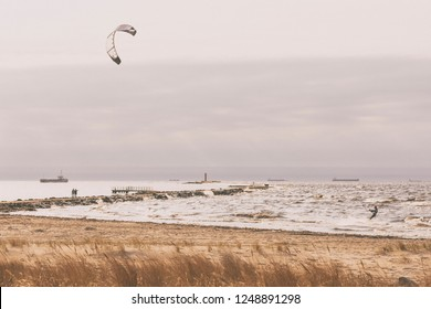 Wind on the Baltic Sea at the mouth of the river