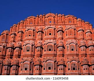 The Wind Palace (Hawa Mahal) built in 1799 by Maharaja Sawai Pratap Singh from red and pink sandstone, Jaipur, Rajasthan, India.