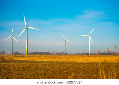 Wind power alternative energy concept, autumn
