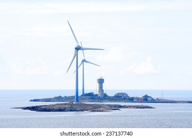 Wind power energy generators at Baltic Sea in Aland region.