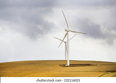Wind power farm installation in South Africa generating electricity