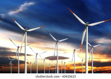 Wind power generating mills