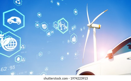 Wind power generation and electric vehicle. Environmental technology concept. Sustainable development goals. SDGs.