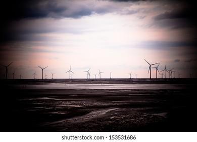 Wind power generation on the beach