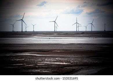 Wind power generation on the beach