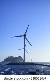 wind power generator in Tando-port/Tando-port is attractive little fishing port of ansan city in korea