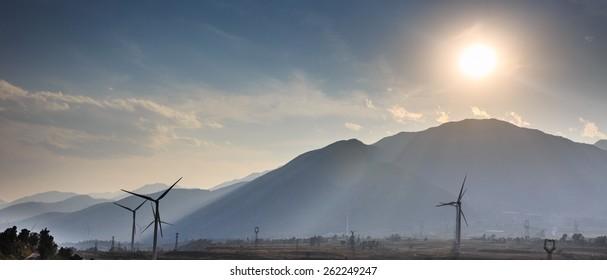 Wind power generator under backlight