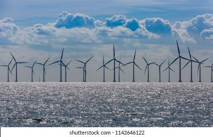 Wind power plant based in sea. Clean energy.