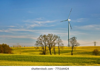 Wind power plant in the fieds, Poland , Sztum