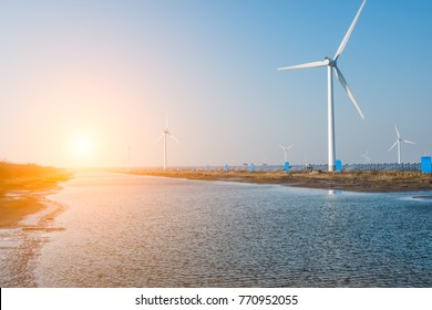 Wind power plant in huanghai beach, China