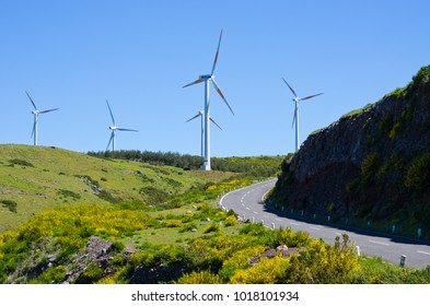 Wind power plant in Madeiran mountains, Portugal