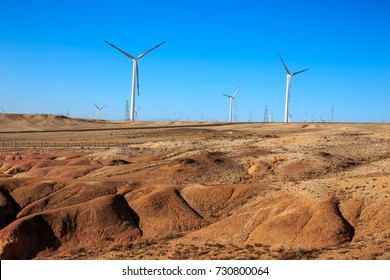 Wind power plant in Xinjiang, China.