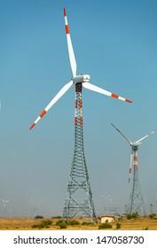 Wind power plants in the desert. India, Jaisalmer