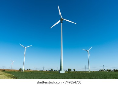Wind power plants in the fields seen in Germany