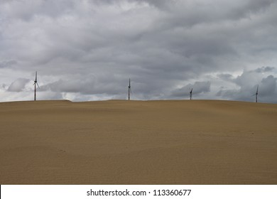 Wind power plants at Thar desert in Rajasthan, India
