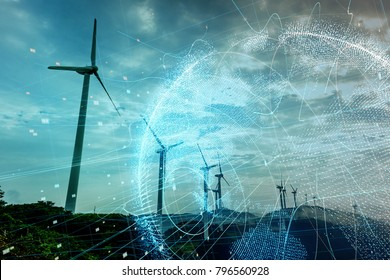Wind power station and global communication concept.