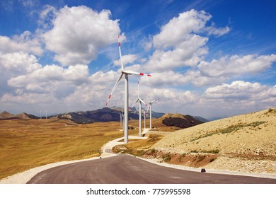 Wind power station on the background of a beautiful mountain landscape. Montenegro, Niksic, Krnovo