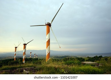 Wind power station on the Golan Heights in Israel