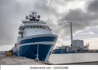 Wind power Supply vessels in Esbjerg harbor, Denmark