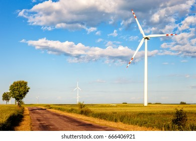 Wind Power Turbine and Country road.