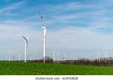 Wind power turbines in the rural landscape, green grass and blue sky