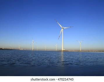 Wind power under the blue sky