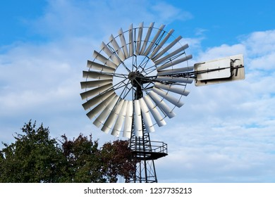 Wind pumps for water supply, historical wind wheel, Germany.