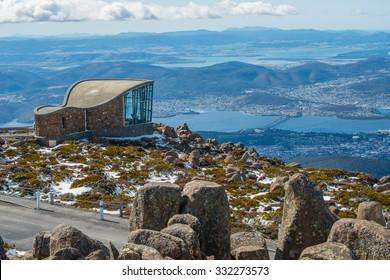 The wind shelter on the summit of Mt.Wellington in Hobart city, Tasmania island, Australia.