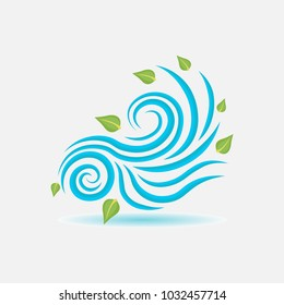 wind sign, wind blows leaves, flat style, image