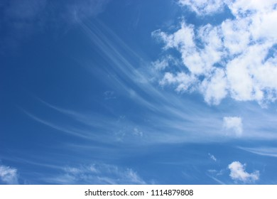 The wind in the sky blows out cumulus clouds in clear weather.