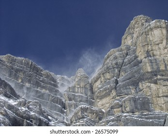 Wind and snow in Dolomite, Alps, Italy,