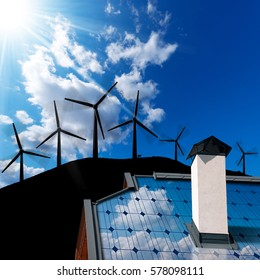 Wind and Solar Energy Concept - Closeup of a house roof with a solar panel and an illustration of a group of wind turbines on a blue sky with clouds and sunbeams