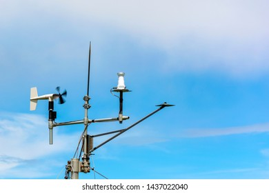 Wind Speed Anemometer Weathervane on a Windy Day