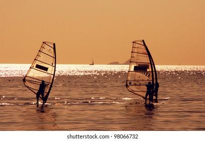 Wind surfers in sea of Marmara, Istanbul, Turkey