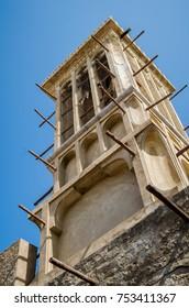 Wind Tower in Dubai Historical Bastakiya District - Symbol of Traditional Local Arabic Architecture.